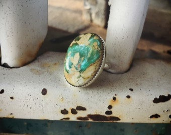 Large Oval Turquoise Ring for Women or Men Size 10.5 Sterling Silver Navajo Native American Indian Jewelry