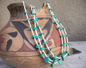 1950s Three Strand Turquoise and White Shell Necklace for Women, Native American Indian Jewelry