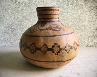Vintage Gourd Olla Pot with Mimbres Design, Native American Style Gourd Art, Southwestern Decor