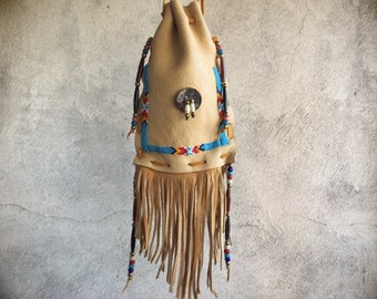 Vintage Leather Drawstring Bag with Seed Bead and Shell Decor and Fringe, Gift for Hippie, Native Style Medicine Pouch
