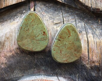 Slab Turquoise Earrings, Southwestern Earrings, Santo Domingo Native American Indian Jewelry