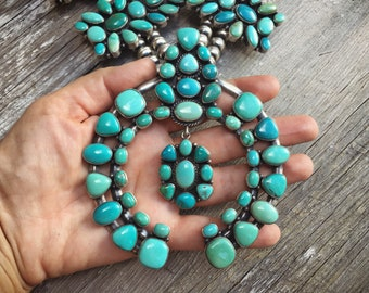 1990s 578g Huge Turquoise Squash Blossom with Formal Appraisal, Signed Navajo Native American Indian Jewelry