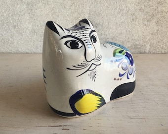 Tonala Cat Figurine Mexican Pottery, Tonala Mexico Folk Art, Tonala Pottery, Cat Lover Gift