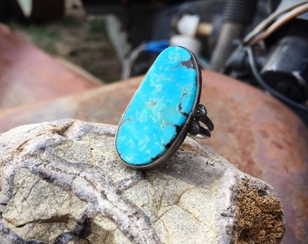 Simple Turquoise Ring for Women or Men Size 7, Native American Ring Indian Jewelry, Oval Ring