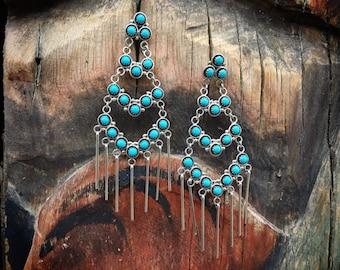 "3"" Long Zuni Snake Eye Turquoise Chandelier Earrings, Native American Indian Jewelryx`"