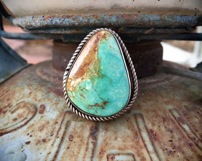 Featured listing image: Real Turquoise Stone Ring Size 10.25, Native American Indian Jewelry, Unisex Navajo Ring