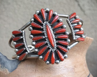 Zuni Petit Point Coral Cuff Bracelet for Women, Native American Indian Jewelry Red Stone