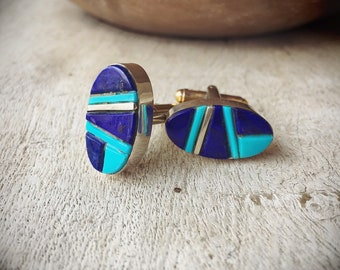 Lapis Lazuli and Turquoise Cufflinks for Men Signed Navajo Native American Indian Southwesten Cuff Links