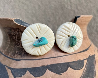 Vintage Round Carved Bone and Turquoise Nugget Earrings (Converted from Buttons?), Native American