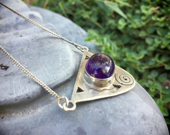 Vintage Sterling Silver Pendant Necklace for Women Iolite Stone, Birthday Gift Blue Purple Stone