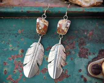 Navajo Earrings Silver Feather Wild Horse Magnesite  Jewelry Native American Indian Jewelry