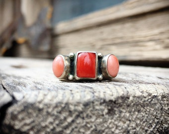 Sterling Silver Red Coral and Pink Mussel Shell Ring for Women, Bohemian Vintage Jewelry