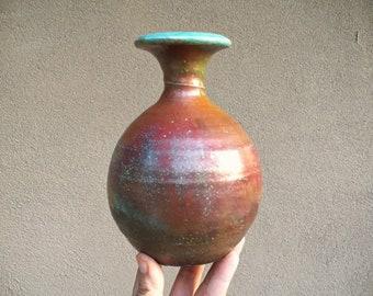 Vintage Japanese Raku Pottery Vase with Celadon Green Interior, Hand Thrown Signed