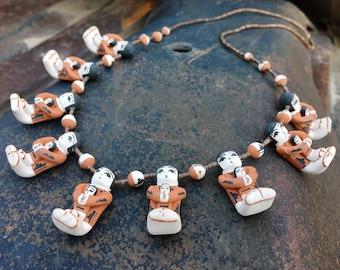 Angel Coriz and Ralph Bailon Storyteller Necklace and Earrings, Santo Domingo Jemez Pueblo Jewelry