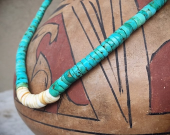 "16"" 1970s Turquoise Disc Heishi Choker Necklace with Spiny Oyster, Native American Indian Santo Domingo Jewelry, Natural Turquoise Destash"