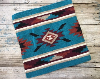 Western Pillow Cover Ranch Decor 18 x 18 Woven Wool Turquoise Rust Color Southwestern Decor Throw Pillow