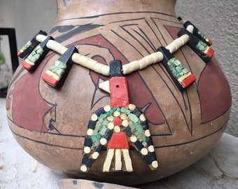 Depression Era Santo Domingo Pueblo Thunderbird Necklace, Old Pawn New Mexico Estate Native American Indian Jewelry