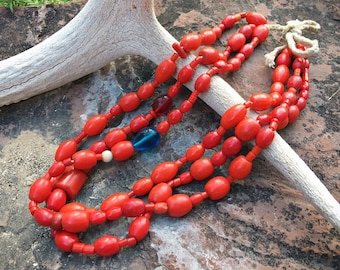 Three Strand Antique Red Glass Trade Bead Necklace Ecuador Guatemala, Coral Color Tribal