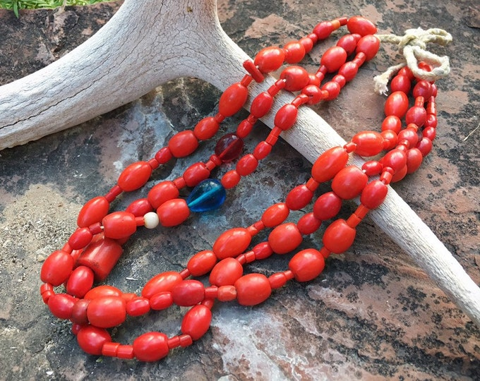 Featured listing image: Three Strand Antique Red Glass Trade Bead Necklace Ecuador Guatemala, Coral Color Tribal