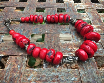 Chunky Red Bamboo Coral Bead Choker Necklace with Silver Tone Beads, Ethnic Tribal Jewelry