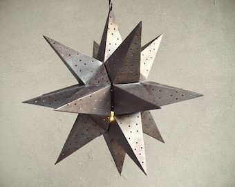 Large vintage punched metal star candle holder Moravian star rustic home decor