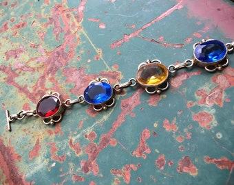 Vintage Multi Color Rhinestone Link Bracelet with Silver Plated Chain, Bohemian Bracelet for Women