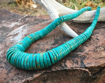 Thick Turquoise Heishi Necklace Women Men Unisex Jewelry, Old Pawn Native American Indian Jewelry