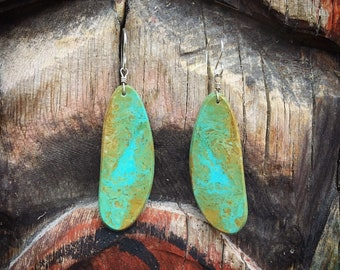 Thin Slab Turquoise Earrings (Repaired) Native American Indian Jewelry, Santo Domingo Pueblo