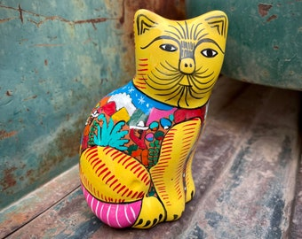 Guererro Mexico Yellow Cat Figurine with Village Life Design, Colorful Decor Southwest Home