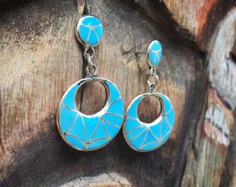 Turquoise Hoop Earrings for Women Zuni Jewelry Channel Inlay, Native American Indian Sterling Silver
