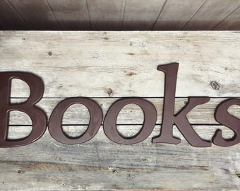 Wooden Letters that Spell Books Sign, Library Decor, Wooden Sign Bookstore Sign