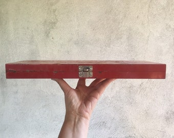 Vintage Flat Metal Tool Box for Sockets Red Chippy Paint with Divider Inside, Industrial Decor