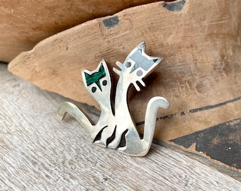 925 Sterling Silver Kitty Cat Brooch with Malachite Inlay, Vintage Mexican Jewelry, Mother's Day