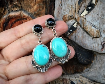Black Onyx and Blue Turquoise Earrings by Navajo Delbert Delgarito, Native American Jewelry