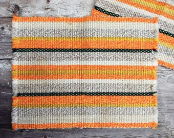 Set of Two Woven Placemats Orange Decor, Bohemian Decor, Rustic Home Decor, Fabric Placemats