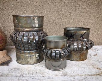 Set of Three Vintage Cut Tin Can Lantern Candle Holders, Patio Garden Decoration, Christmas Decor