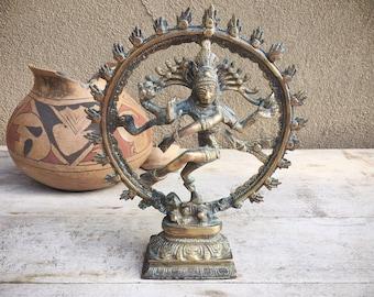 Brass Dancing Shiva Nataraja Statue Hindu God, Good Luck Talisman, Friend Gifts Spiritual Altar, Lord of Dance, Gift for Dancer, Brass Decor