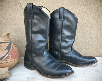 Very Dark Blue Cowboy Boots Women's Size 7.5 (Run Small) Roper Cowgirl Fashion, Round Toe