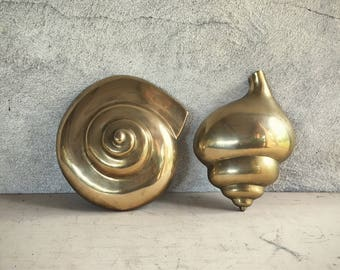 Pair of Midcentury Modern brass sea shell wall hangings nautical decor brass beach decor