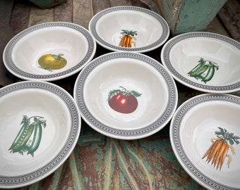Six Vintage Pfaltzgraff Farmers Market Vegetable Design Bowls, Bohemian Kitchen, Collectible