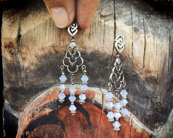 Vintage 925 Sterling Silver Pink Milky Quartz Chandelier Earrings, Boho Jewelry, Light Pink Crystal
