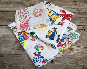 Lot of Three 1950s Mexican Themed Cotton Table Cloths or Fabric (Some Staining), Southwest Decor