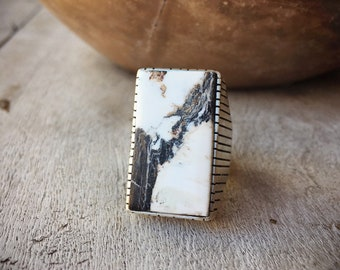 Men's Ring Size 13.25 White Buffalo Turquoise, Native American Indian Jewelry White Turquoise