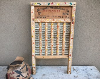 Vintage Repurposed Washboard Wall Hanging with Folk Art Painted Designs, Primitive Farmhouse Decor