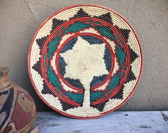 Coiled Basket Bowl Navajo Wedding Design Southwestern Decor, Native Style Weaving Gallery Wall