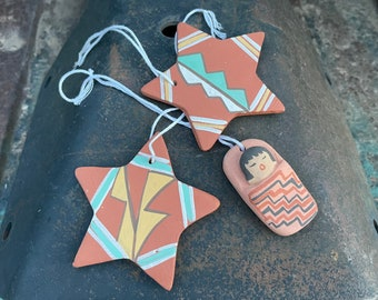 Three Southwestern Pottery Ornaments for Christmas Tree Stars and Papoose Jemez Pueblo Pottery