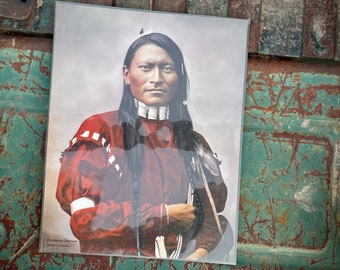 1973 L.A. Huffman Hand Tinted Collotype of Red Armed Panther Cheyenne Scout, Old West Gallery
