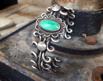 Vintage Heavy Twist Wire Sterling Silver Turquoise Bracelet, Navajo Native America Indian Jewelry