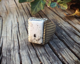 Men's Ring Size 13.5 White Buffalo Turquoise, Native American Indian Jewelry, Gift for Husband