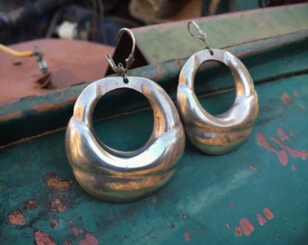 Vintage Mexican Sterling Silver Hoop Earrings for Women, 1970s Mod Fashion Bohemian Jewelry